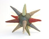 Modern baby Teething toy -Ooak Sensory strar ball - geometric modern toy - eco ball in Fall colors, olive ,gold,burgundy,beige -timohandmade