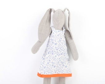Gray bunny doll , cuddling doll stuffed rabbit in white blue flowery dress- plush hare rabbit bunny softie toy Easter bunny baby shower gift