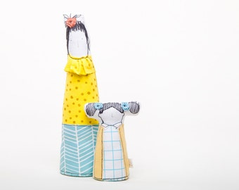Soft sculpture portrait cloth dolls  - Mother in Glasses & daughter with pigtails ,in Turquoise blue yellow, handmade fabric family dolls