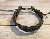 Earthy Braided Bracelet, Multicolor Bracelet, Waxed Cotton Bracelet, Brown and Green Bracelet, Nature Bracelet, Boho Braided Bracelet