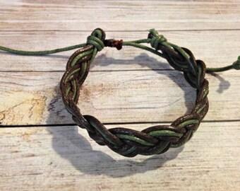 The Harper Bracelet in Earthtones | Waxed Cotton Bracelet | Green and Brown Bracelet | Simple Braided Bracelet | Summer Jewelry