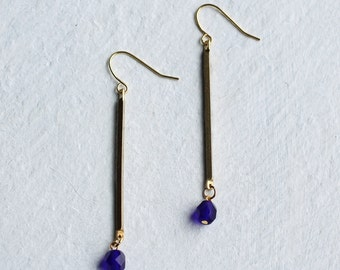 Blue Earrings ... Vintage Brass Stick with Electric Royal Blue