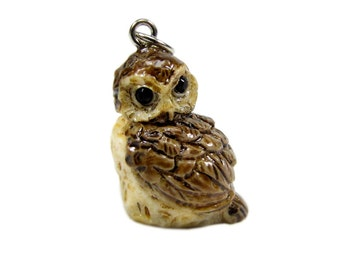 3-D Hand Painted Resin Owl  Charm , Qty 1