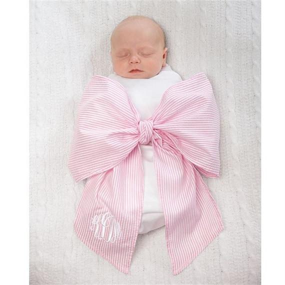Monogrammed Swaddle Blanket Swaddle Bow Newborn Photos