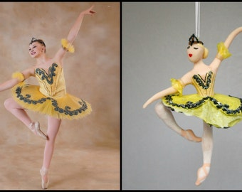 CUSTOMIZED to your costume Hand Sculpted Clay Ballerina Ornament