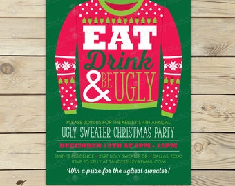 ugly christmas sweater invitations  etsy, Party invitations