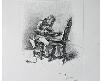The Guitar Player Antique Steel Engraving 1879 Mariano Fortuny