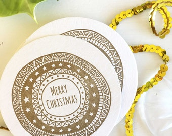 Christmas Table Decor - Holiday Decor - Gold Christmas Decor - Gold Christmas Decorations - Christmas Coasters - Secret Santa Gifts