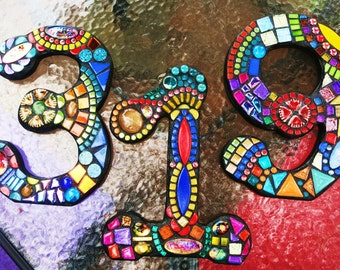 "7"" Tall -  CUSTOM MOSAIC House Numbers / Mixed Media Mosaics - Unique 'Wild & Funky' Style - Order Your 7"" Size From This Listing - OOAK!"