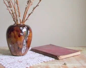Brown Pottery Vase , Vintage Drip Glazed Vase , Mid Century Modern Decor , Chocolate Caramel Glaze