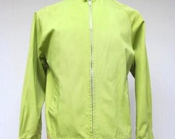 Vintage 1960s Windbreaker / 60s Mens Chartreuse Cotton Casual Zip Jacket / Medium
