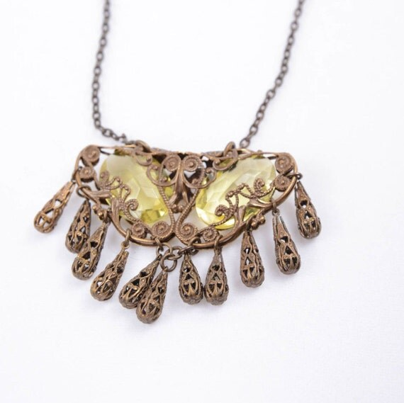 Yellow Czech Crystal Folded Filigree Necklace-Worn by Actress Bonnie Bedelia on Parenthood