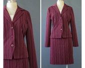 90s Suit - Burgundy Skirt Suit - 70s Style Pinstripe Suit - 1990s Suit - Blazer Jacket Pencil Skirt Two Piece Suit Set - Striped Suit