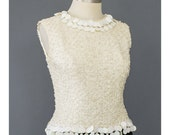 SALE - Mod 60s Cocktail Party Top - Boucle Knit Sequin Top - Cream & Metallic Silver Sleeveless Shell Blouse - 1960s Evening Top (S/M)