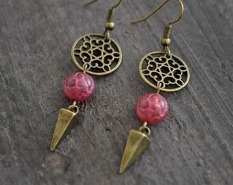 Boucles d'oreilles framboise - Raspberry earrings - Bohemian inspired jewelry - Bijoux bohémiens - Coco Matcha