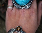 Natural Turquoise and Fire Agate Ring. Horizontal Ring. Silver Feather Ring. Made to Size Ring. Turquoise Statement Ring. Southwestern