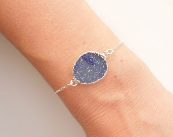 Blue Druzy Bracelet in Silver - OOAK Jewelry