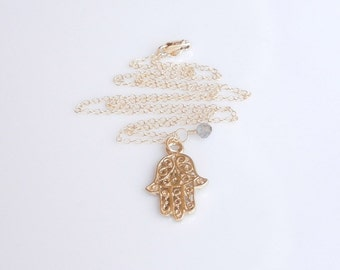 Gold Hamsa Necklace with Gray Labradorite
