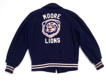 Moore Lions Varsity Jacket Vintage Cute Lion Patch Bomber Jacket 1970s Personalized Name Lisa Starter Jacket Medium Track Jacket