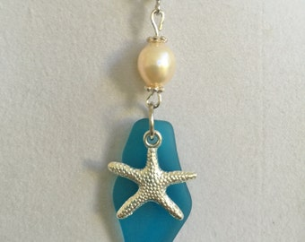 Blue Sea Glass, Silver Starfish and Pearl Necklace