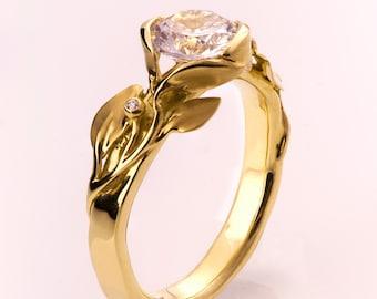 Leaves Engagement Ring No. 10 - 14K Gold and Diamond engagement ring, engagement ring, leaf ring, 1ct diamond, antique, art nouveau, vintage