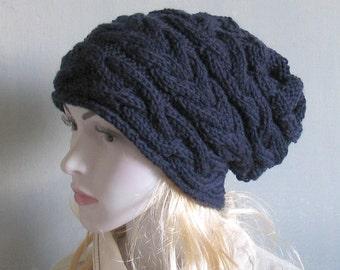 Women Hat Slouchy Hat Slouch Beanie Cable Hand Knit Winter Women Teen DARK BLUE Hand Knit Gift Women Knit Hat Women Slouchy Hat