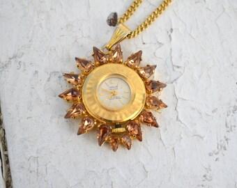 1970s Indur Pocket Watch Necklace with Rhinestones