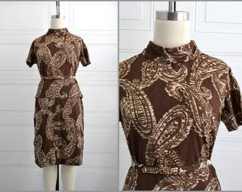 1960s Sacony Brown Paisley Skirt Set