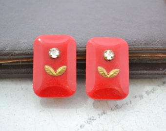1950s West German Red Rectangle Clip Earrings