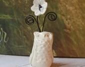 Handmade Owl/Place Card Holder/Paper Weight/Valentine Note Holder/Ceramic Decoration/Tea Party/Wedding