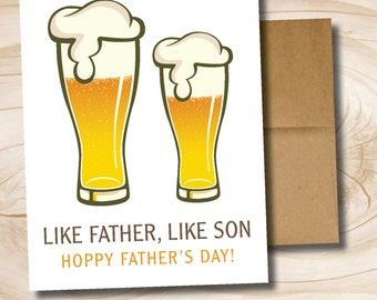 Like Father Like Son Father's Day craft beer printed greeting card