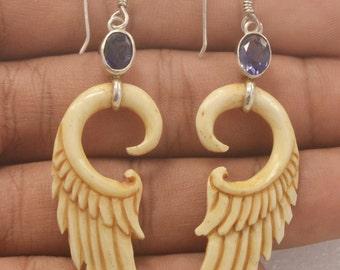 Jewelry With Soul Wings Buffalo Bone Iolite 925 Sterling Silver Earrings EA254 E1059