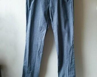 Vintage pinstripe blue woman cotton riding pants, slim skinny jeans Size medium, EU 38-40