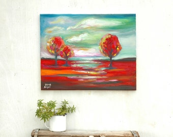 Red and green landscape, Original oil painting, landscape painting, trees painting, Modern art, contemporary painting, Abstract painting