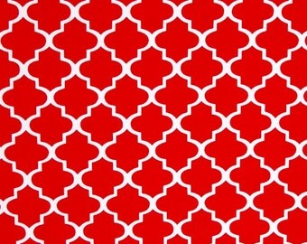 Red Quatrefoil fabric, 100% cotton fabric for general arts and crafts and all sewing projects.