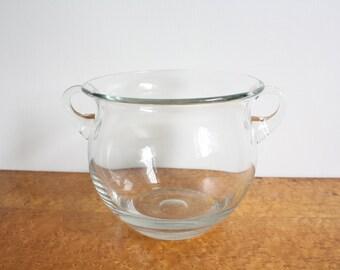 Vintage Round Glass Jardiniere Cachepot Planter