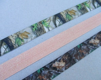 Camo Elastic Headbands Adult Teen Size Hunting Camouflage Hair Band Peach Orange Glitter Stretchy Head Band Southern Country Girl Hunter