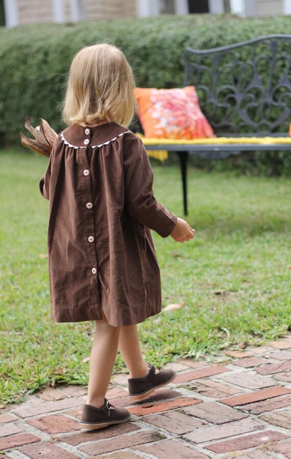 Girls Monogrammed Brown Corduroy Longsleeve Dress