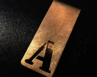 Personalized  bronze initial money clip-custom made letter cut out