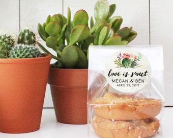 24 Personalized Cellophane Donut Bags, Flat Bottom Cellophane Bags - Succulent Favor Label | Cactus Favor Bag | Succulent Favor Bag