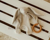 """Organic Baby Toy """"Sweet Bunny"""", Bunny plush toy, Baby teether, natural wood ring, Organic cotton, Pacifier holder  - Organic baby"""