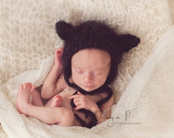 IN STOCK Newborn Kitty bonnet, Baby kitten hat, Newborn Cat outfit, Baby Halloween costume - Photography prop