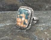 Ocean Jasper Ring, size 9, Green, Peach, Handmade, Bezel Set, Sterling Silver Ring, Made in New Hampshire, Modern Ring, Orb Jasper, Casual