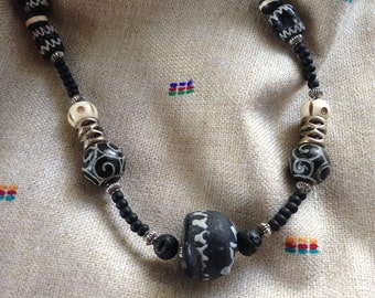 Black and White  African Bead Necklace