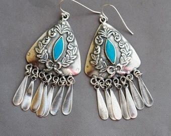 Gypsy Earrings,Silver Earrings,turquoise blue,Antique,Vintage Style,Wedding,Bride,Antique Earrings,Boho,Hamsa,Boho Earring,