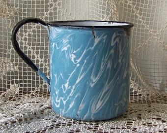 Vintage Enamelware Soup Cup HUGE Blue Swirl Graniteware Rare Extra Large Enameled Metal Soup Mug Camping Cup 1930s