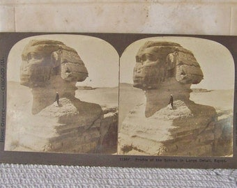 Antique Stereoview Card The Sphinx Egypt 3D Card Stereograph Card Great Stone Face Valley Of The Nile Stereoscope Card Vintage ca 1901