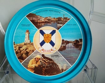 Vintage 1970's Nova Scotia Souvenir Serving Tray - tin
