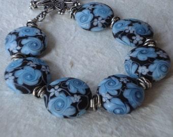 Beautiful Blues - Floral Lampwork and Bali Silver Bracelet