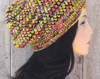Yellow Variegated Hand Paint Wool Slouchy Hat